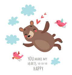 bear valentines card vector image vector image