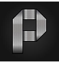 Letter metal chrome ribbon - P vector image