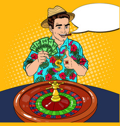 rich man behind roulette table celebrating big win vector image vector image