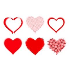 set of halftone hearts vector image