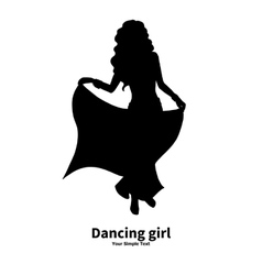 Silhouette of a dancing girl vector image vector image