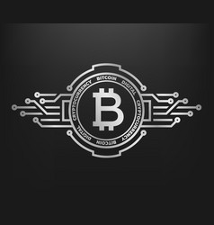 bitcoin abstract silver symbol of internet money vector image