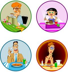 breakfast lunch dinner vector image vector image