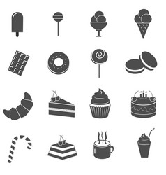cake and sweet dessert icons set vector image