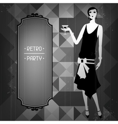 Retro party background with beautiful girl of vector image vector image