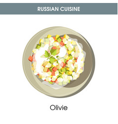 rich olivie salad dressed with mayonnaise from vector image