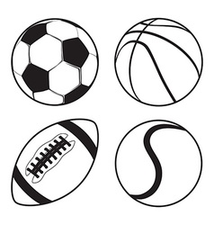 Set of Sports balls Soccer Basketball American vector image vector image