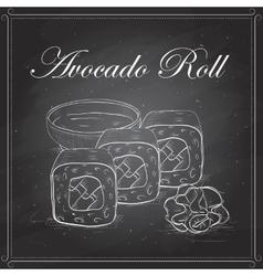 Sushi sketch avocado roll vector