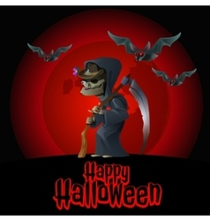 The image of death on a red background and bats vector image vector image