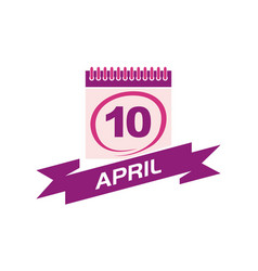 10 april calendar with ribbon vector