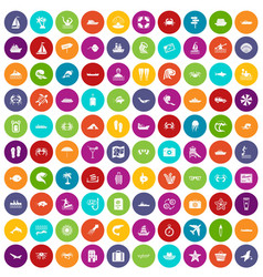 100 sea life icons set color vector