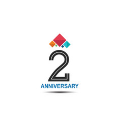 2 anniversary logotype with colorful crown vector