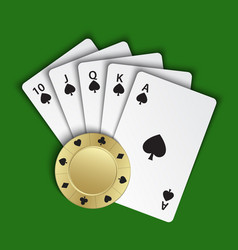 a royal flush spades with gold poker chip vector image