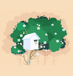 A white nesting box on a blossoming tree vector