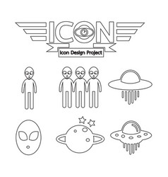 Alien ufo icon vector