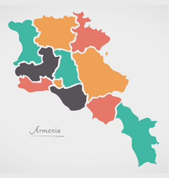 armenia map with states and modern round shapes vector image