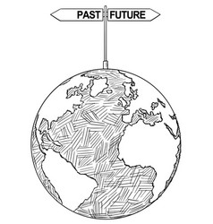 Artistic drawing of world globe with past and vector