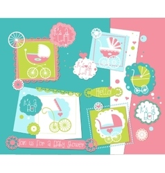 Baby shower scrap-booking elements set with prams vector