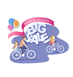 back to school 1 september sale children bicycling vector image
