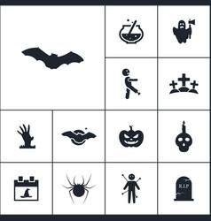 bat icon halloween set simple sign vector image