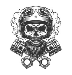 bearded and mustached motorcyclist skull vector image