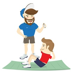 Bearded fitness personal trainer instructor and vector image