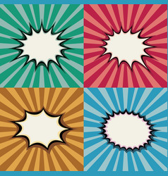 Blank pop art speech bubbles and burst shapes on vector