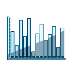 Blue shading silhouette of statistical graphs bars vector