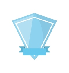 Blue shield ribbon shape diamond empty vector