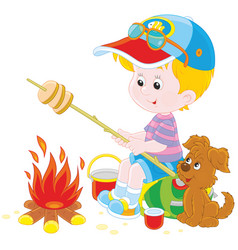 boy-scout roasting bread on campfire vector image