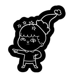 Cartoon icon of a amazed boy wearing santa hat vector