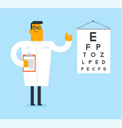 Caucasian white ophthalmologist with eye chart vector