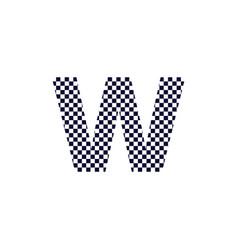 Checker pattern logo letter w vector
