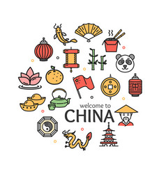 china welcome travel concept round design template vector image