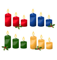 christmas element with set of christmas candle vector image