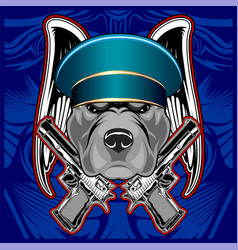 close up portrait police dogfrench bulldog vector image