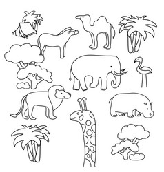 collection of african animals in a contour flat vector image