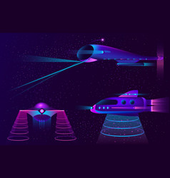 collection spaceships ufo and aircraft vector image