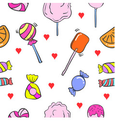 Collection stock of various candy doodles vector