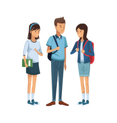 Colorful women students standing and boy with vector