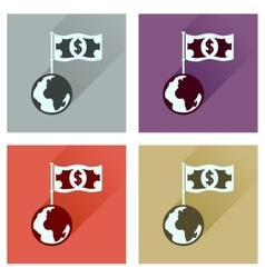Concept flat icons with long shadow Earth money vector