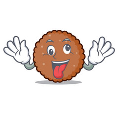 Crazy chocolate biscuit mascot cartoon vector