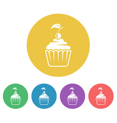 cupcake colored round flat style icons vector image