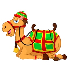 Cute camel cartoon sitting vector