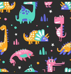 cute colorful dinosaurs abstract seamless vector image