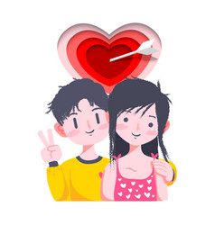 cute couple valentine day vector image