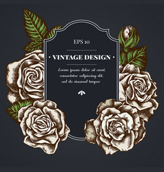 dark badge design with roses vector image