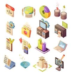 Data Analysis Isometric Elements Set vector image