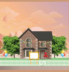 Detached residential house celebration vector