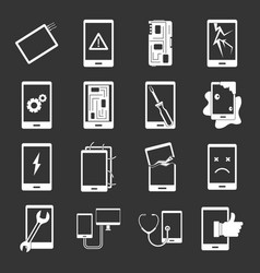 Device repair symbols icons set grey vector